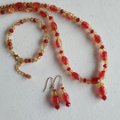Red & yellow beaded necklace bracelet earrings set ,Crackleglass necklace
