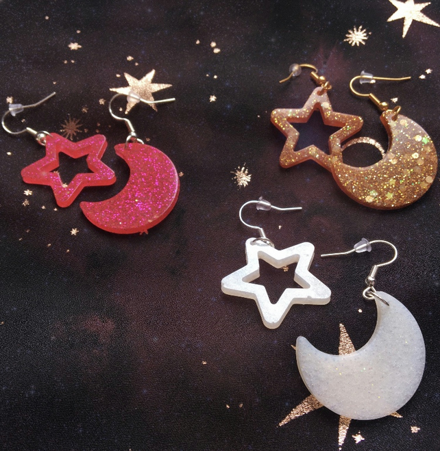 Glitter moon and star space earrings