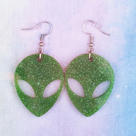 Green glitter quirky alien earrings