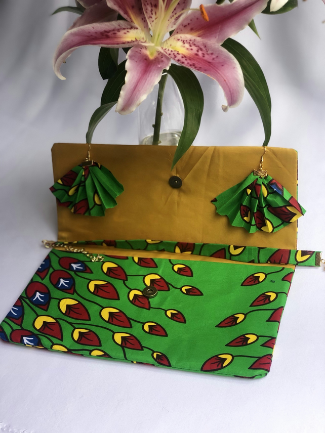 Handmade African Ankara Print Soft Body Fabric Clutch Bag Set