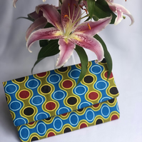 Vibrant African Ankara Print Fabric Clutch Bag with Matching Earrings
