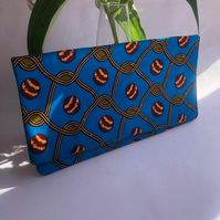 Sky Blue and Dark Gold African Ankara Print  Fabric Clutch Bag