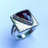 Unique 'Raspberry' Tourmaline & Sterling Silver 'Picture' Ring (U.K size L or M)