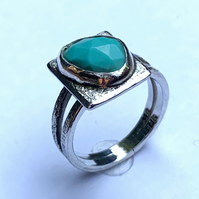 Rose Cut Turquoise 'Picture' Ring on Sterling Silver, UK (N to O)