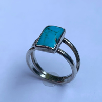 Unique Large Turquoise Stone set in hand textured Sterling Silver Ring (Size L)