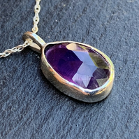 Unique Rose Cut Amethyst and Sterling Silver Pendant