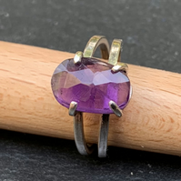 Unique Claw Set Amethyst on a Sterling Silver Ring (Size N to O)