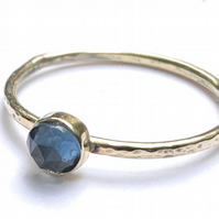 Handmade Ring in Solid 9ct Gold, set with London Blue Topaz Gemstone