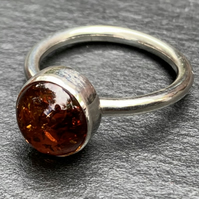 Handmade Baltic Amber and Sterling Silver Cabochon Ring