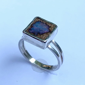 Boulder Opal 'Nebula' Stone on Sterling Silver Ring, 100% Handmade, (UK. M to N)