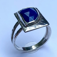 Unique Lapis Lazuli and Sterling Silver 'Picture' Ring, Handmade, (U.K size M)