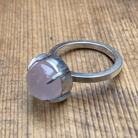Large Claw Set Rose Quartz on 'Chunky' Sterling Silver Ring