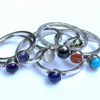 Handmade Textured Sterling Silver Ring with 5mm Semi-Precious Cabochon
