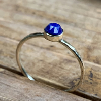 Handmade Ring in Solid 9ct Gold, set with Lapis Lazuli Gemstone