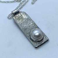 Freshwater Pearl and Textured Sterling Silver Pendant , 100% Handmade