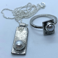 Freshwater Pearl and Textured Sterling Silver Ring & Pendant Set, 100% Handmade