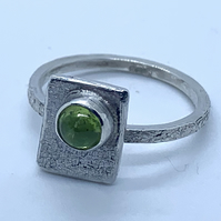 'Framed' Peridot' Cabochon on Sterling Silver Ring
