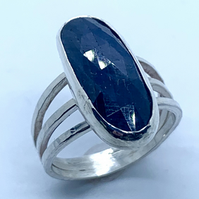 Deep Blue Sapphire Stone on Sterling Silver Ring, 100% Handmade, (UK. O to P)