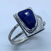 Unique Lapis Lazuli and Silver 'Picture' Ring, Handmade, (U.K size Q to R)