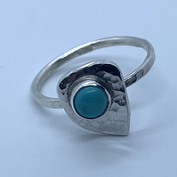 Turquoise and Sterling Silver 'leaf' Ring, 100% Handmade