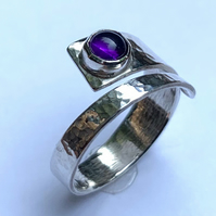 Amethyst and Sterling Silver 'Wrap' ring, 100% handmade