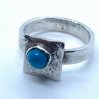 'Framed' Turquoise Cabochon on Sterling Silver Ring, 100% handmade
