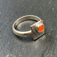 'Framed' Carnelian Cabochon on Sterling Silver Ring, 100% handmade