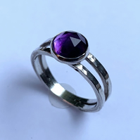 Rose Cut Brazilian Amethyst Cabochon on Textured Sterling Silver Ring