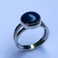 Lapis Lazuli Cabochon on Polished Sterling Silver Ring, 100% handmade