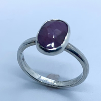 Gorgeous Sapphire  Cabochon on Sterling Silver Ring, 100% Handmade, U.K. size L