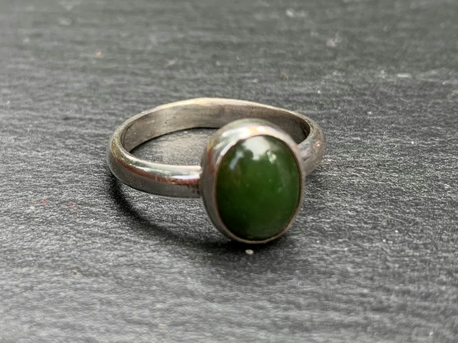Rich Green Jade Cabochon on Sterling Silver Ring, 100% Handmade, U.K. size Q