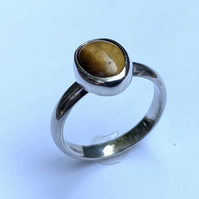 Oval Tiger's Eye Cabochon on Sterling Silver Ring, 100% Handmade, U.K. size P