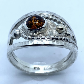 'Autumn Gold' Ring in Amber, Gold and Silver, 'Shades of Autumn' 100% Handmade