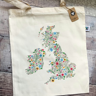 Organic & Fairtrade Floral Map of UK & Ireland Tote Bag