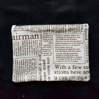 Newsprint,  newspaper design pencil case, makeup bag, zip bag zip pouch