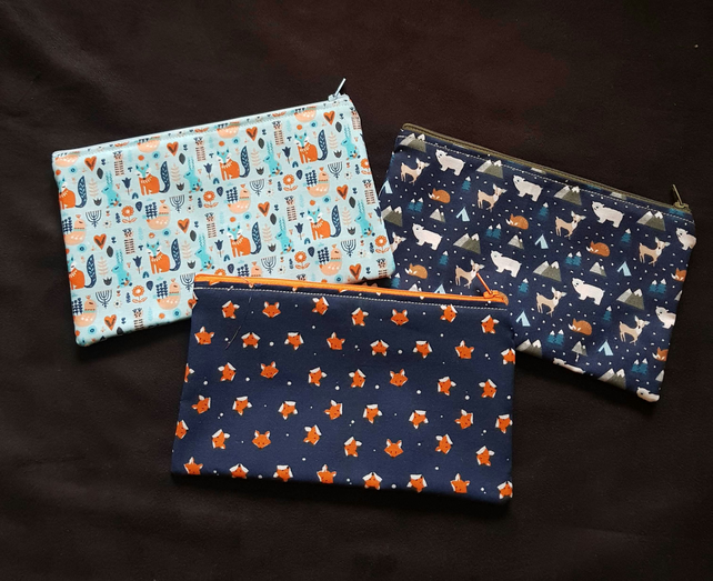 Woodland, polar theme pencil cases