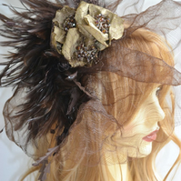 Gold and brown crinoline fascinator