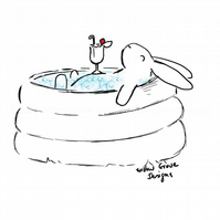 Relaxing in the pool - Art Print