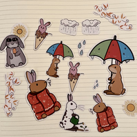 Weather bunnies art stickers