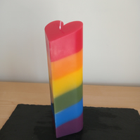 Rainbow Heart pillar candle