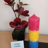 Mosaic Pansexual Church pillar candle
