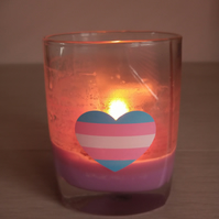 Transgender Heart Soy double wick container in a choice of colour
