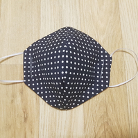3 Layer Navy Blue Polka Anti Fog Glasses Cotton face mask - Reusable Washable