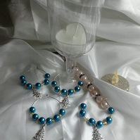 Blue wine glass charms