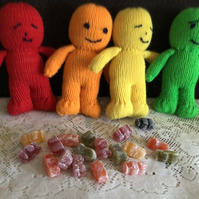 4 happy smiling  jelly babies