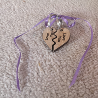 Love you Heart wooden Keyrings
