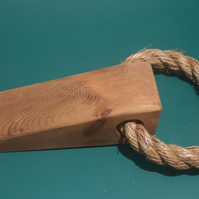 Homemade Pine Doorstop, Wedge, With Rope Attached