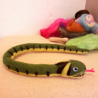 Needle felted grass snake