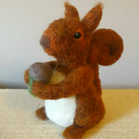 Needle-felted red squirrel