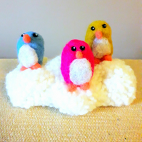 Needle felted birds on a cloud